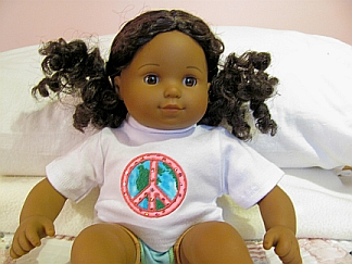 Here's a picture of a 15 inch doll in her World Peace shirt.